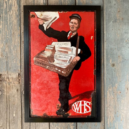 Vintage W. H. Smith enamel sign