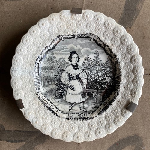 19th C. Child's nursery plate - 'Young Girl'