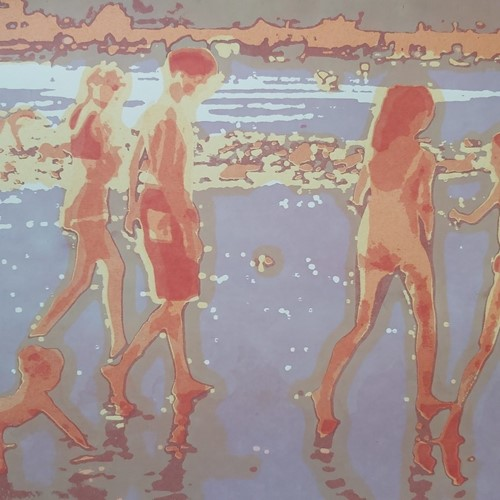 20thC Screenprint 31/100 Children on a Beach