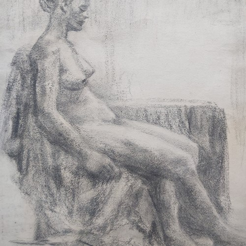 1940s French Charcoal Female Nude Life Study