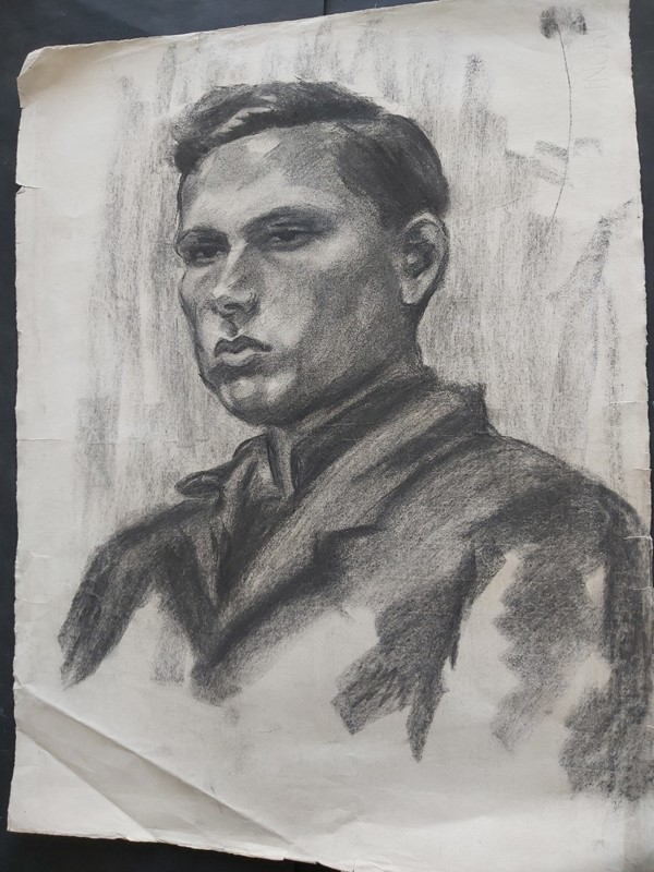 1940s French Charcoal Portrait Male Subject, Large-masthead-art-s15609-11-main-637318102171315567.jpg