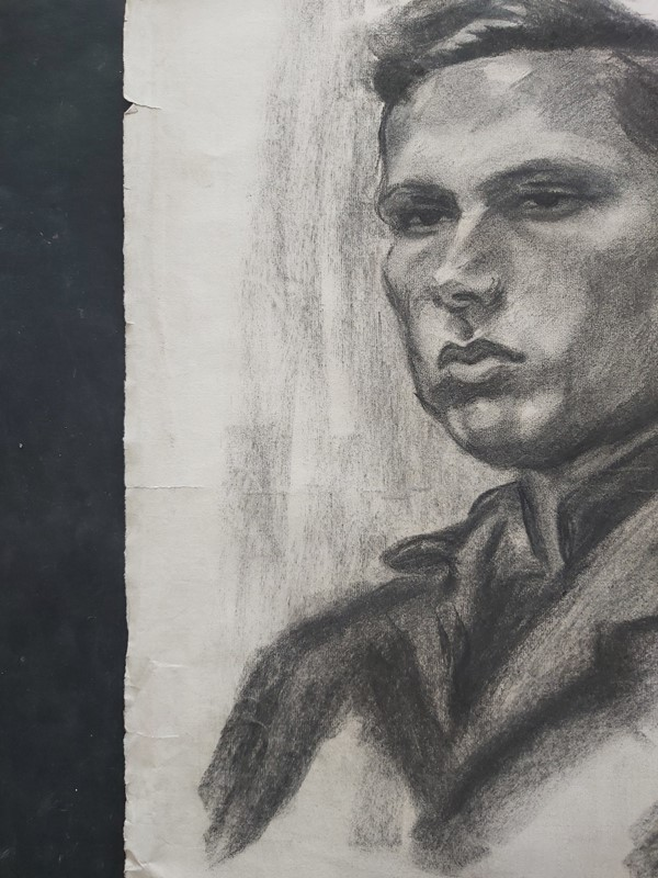 1940s French Charcoal Portrait Male Subject, Large-masthead-art-s15609-8-main-637318102155065532.jpg