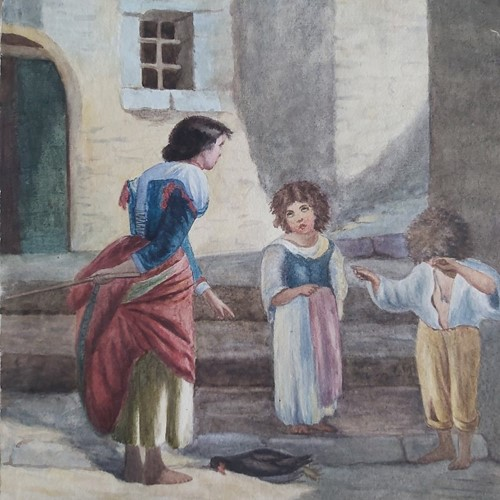 1860s Watercolour of Scolded Italian Children