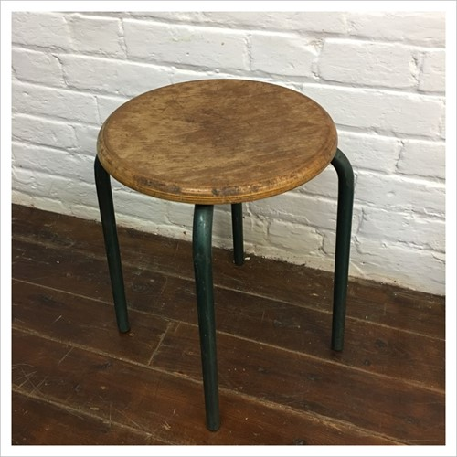 Vintage French School Stool
