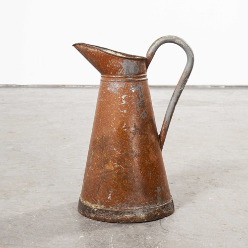 1950's Galvanised Large Tin Pitcher - Earth Red