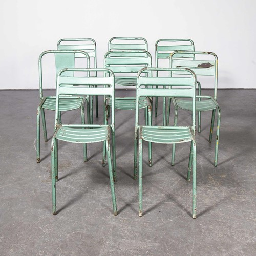 1970's Set Of Eight Original Green Tolix T2 Chairs