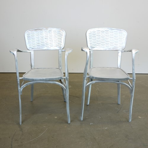 Rare Pair of 1940's French Aluminium Chairs