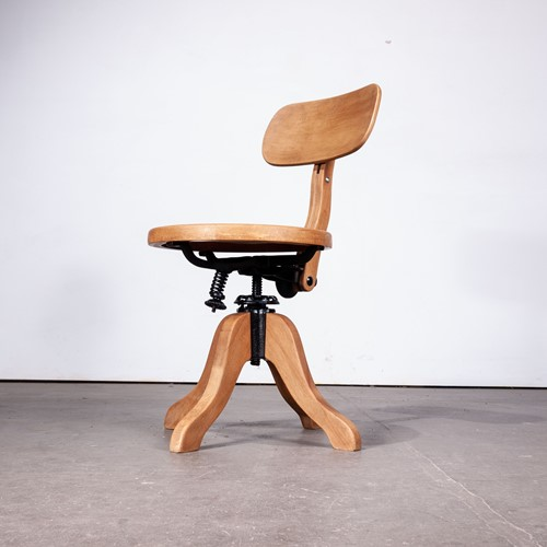 1950's Swivelling Wood Desk/Office Chair By Thonet