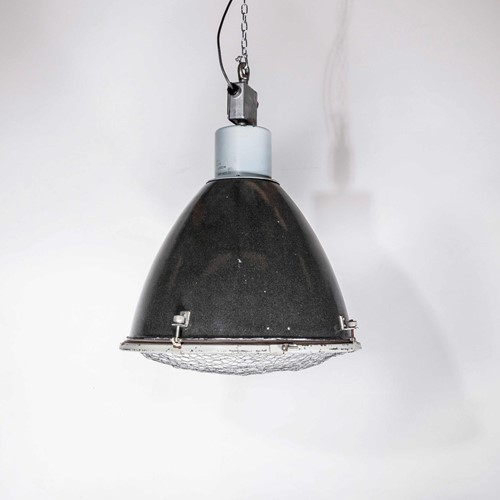 1950's Large Industrial Enamelled Pendant Lamps