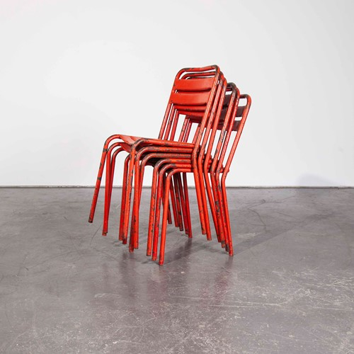 1950's French Red Tolix Metal Chairs - Set Of Six