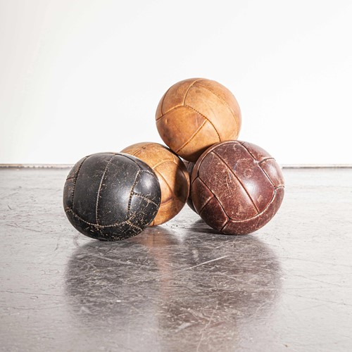 1950's Small Czech Leather Medicine Balls