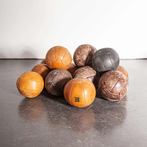 1950's Medium Czech Leather Medicine Balls