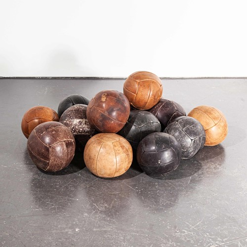 1950's Large Czech Leather Medicine Balls