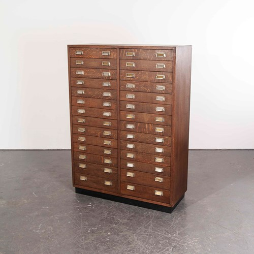 1950's Oak Apothecary Multi Drawer Chest Of Drawer