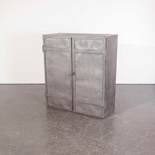 1950's English Industrial Metal Storage Cabinet