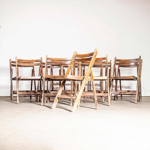 1960's Beech Chairs Walnut Stain Set Of Twelve