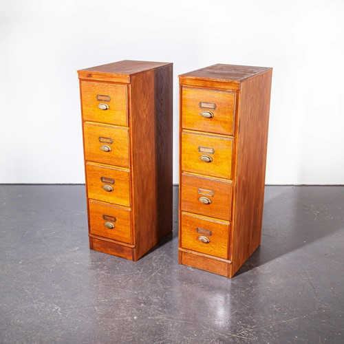 1930's Tall Oak Four Drawer Filing - Two Unit