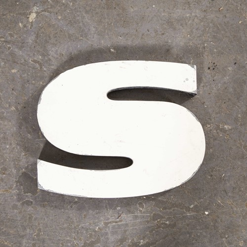 1950's French Zinc Letters - Letter White S