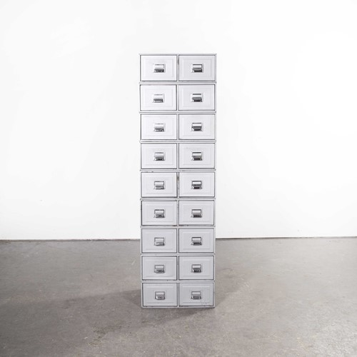 1960's Tall Grey Metallic Filing Boxes Set Of Nine