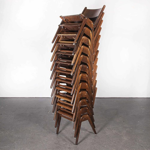 1950's Casala Walnut Stacking Chair -Set Of Twelve