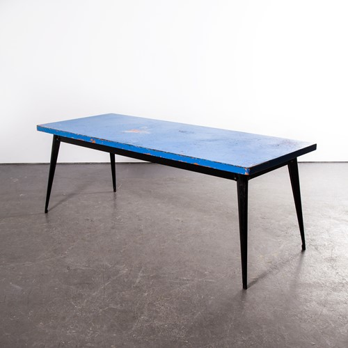 1960's Original French T55 Tolix  Table Blue Top
