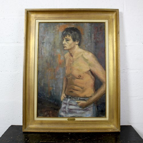 Shirtless Man Oil on Canvas by L. D'hondt