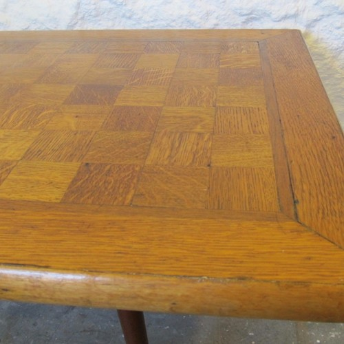 Mid-century parquet top coffee table
