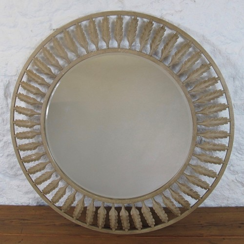 Pair of large metal acanthus leaf mirrors