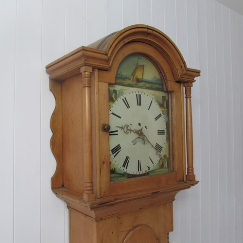 Pine longcase clock from Cornwall