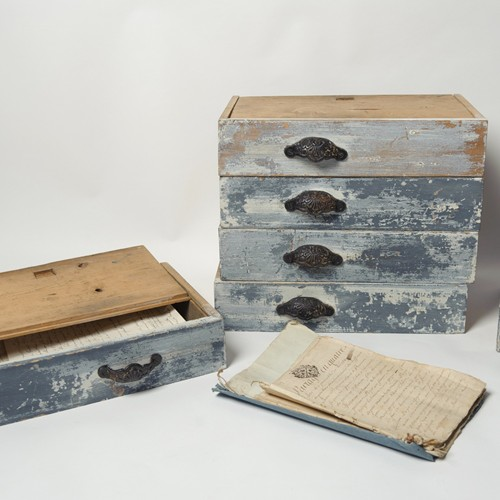 Collection of antique file boxes