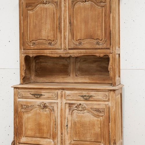 Attractive period pine armoire with lovely carving