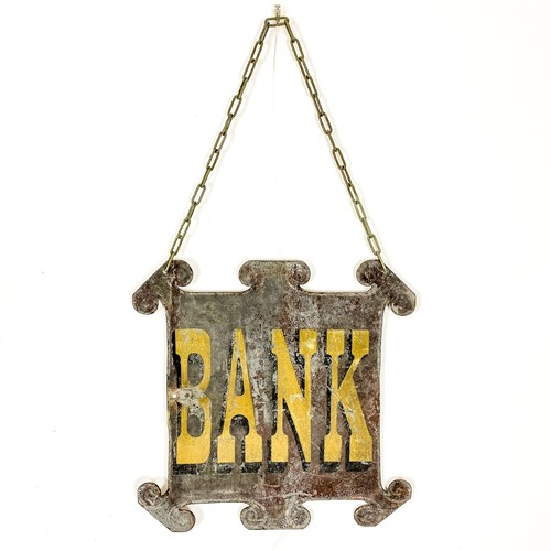 Antique sign bank double sided zinc