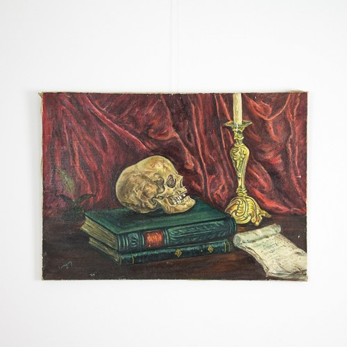 Painting 'skull on books' by Faugon