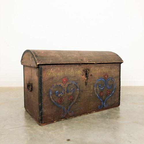 Swedish antique painted marriage Chest 1859
