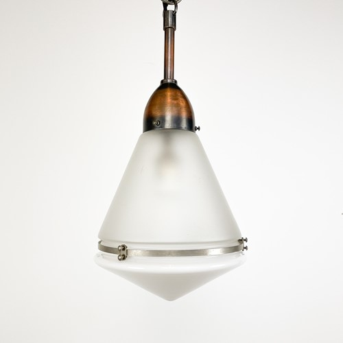 Antique opaline pendant light by Peter Behrens