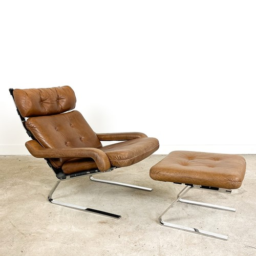Vintage cognac leather lounge chair with ottoman b
