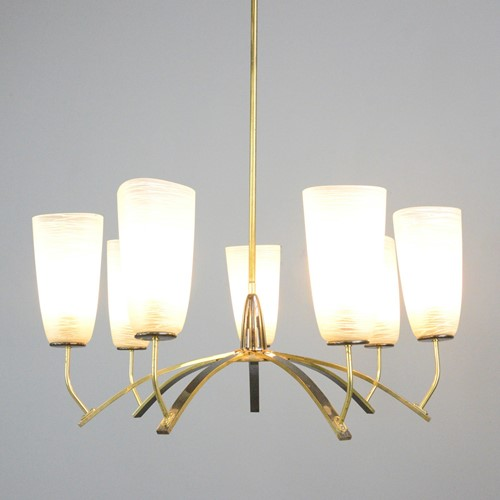 Large Mid Century Brass & Glass Chandelier 1960s