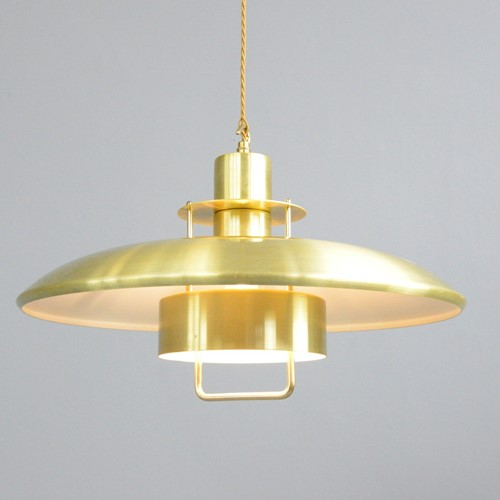 Mid Century Danish Brass Pendant Light Circa 1970s