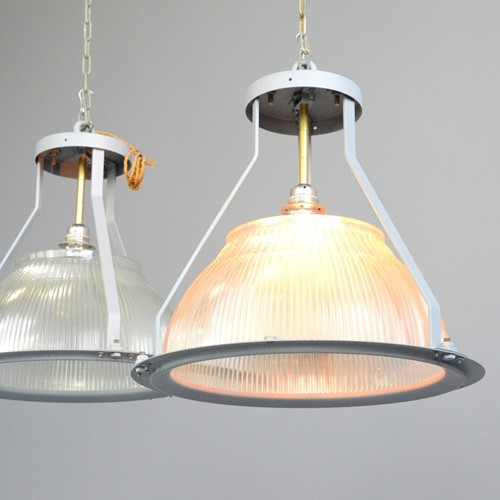 Large Aircraft Hanger Lights By Holophane 1940s