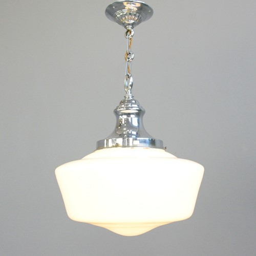English Art Deco Opaline Pendant Light Circa 1920s