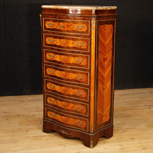 French tallboy in wood with marble top