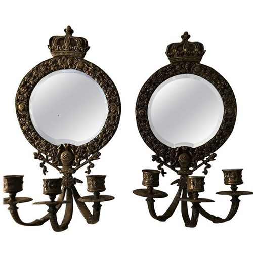 Pair French 19thC mirrored girandoles/wall lights