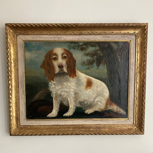 19th century oil on canvas painting of a dog
