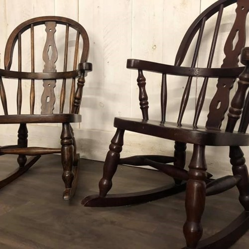 Pair of Elm Childrens Rocking Chairs