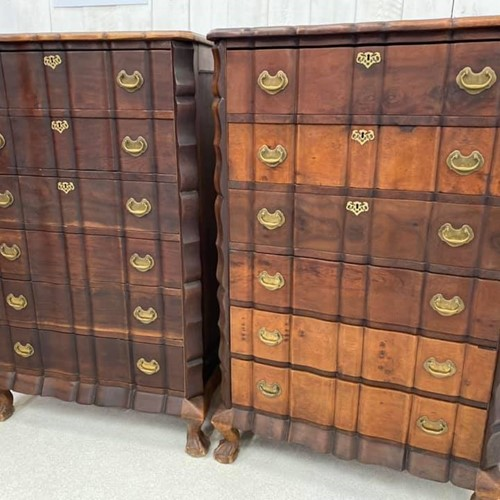 Pair of Large Excellent Dutch Bank of Drawers