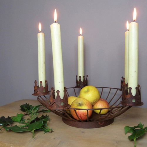 Winter table decoration bowl / candle holder