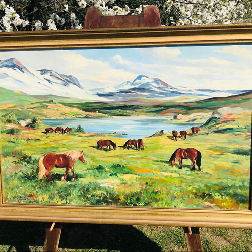 Oil on canvas out to pasture