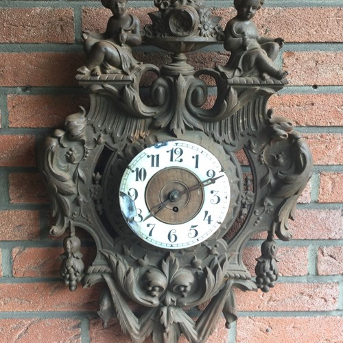 French cast iron enameled face wall clock