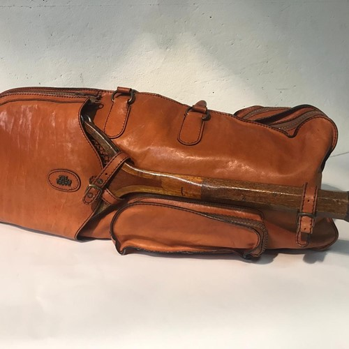 Leather tennis holdall.
