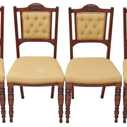 Set of 4 Victorian walnut dining parlour chairs
